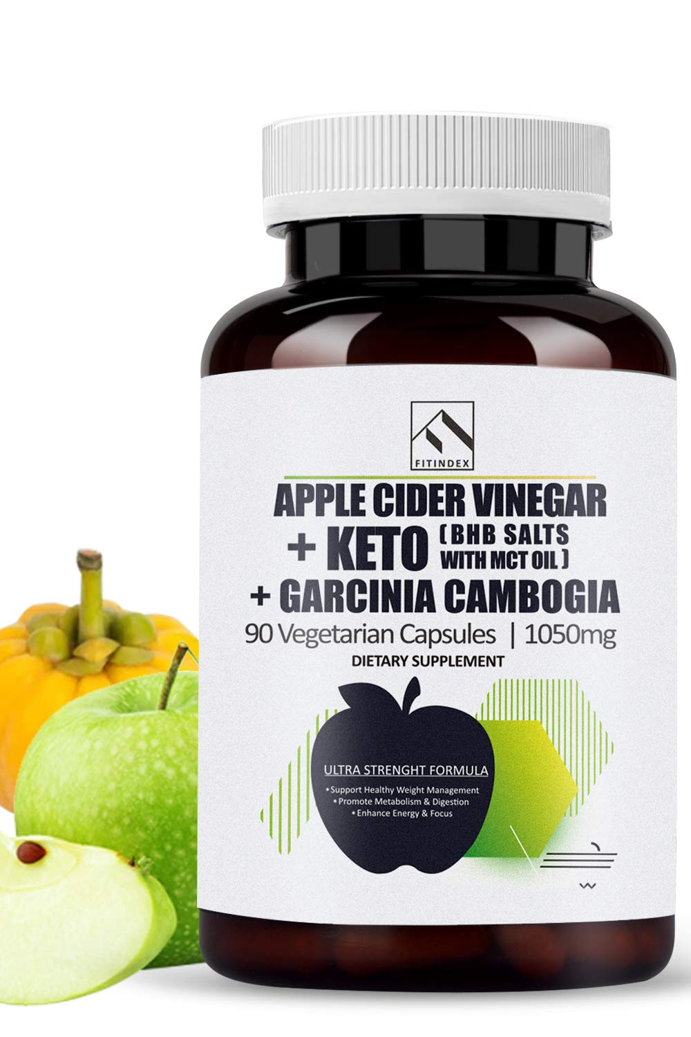 Natural Apple Cider Vinegar Capsules 90 & BHB Salts & Garcinia Cambogia Extract Keto Diet Pills with MCT Oil Powder, Exogenous Ketones Detox Cleanse Weight Loss Pills for Women Men Work Fast