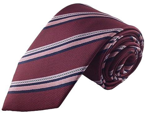 Hombre Rojo granate con rosa de rayas corbata: Amazon.es: Ropa y ...