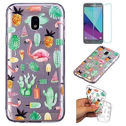 a1fbc23991a Funda Samsung Galaxy J7 2017 SM-J730 Silicona Transparente,QFUN Suave  Carcasa Flexible con Dibujos [Flamencos] ...