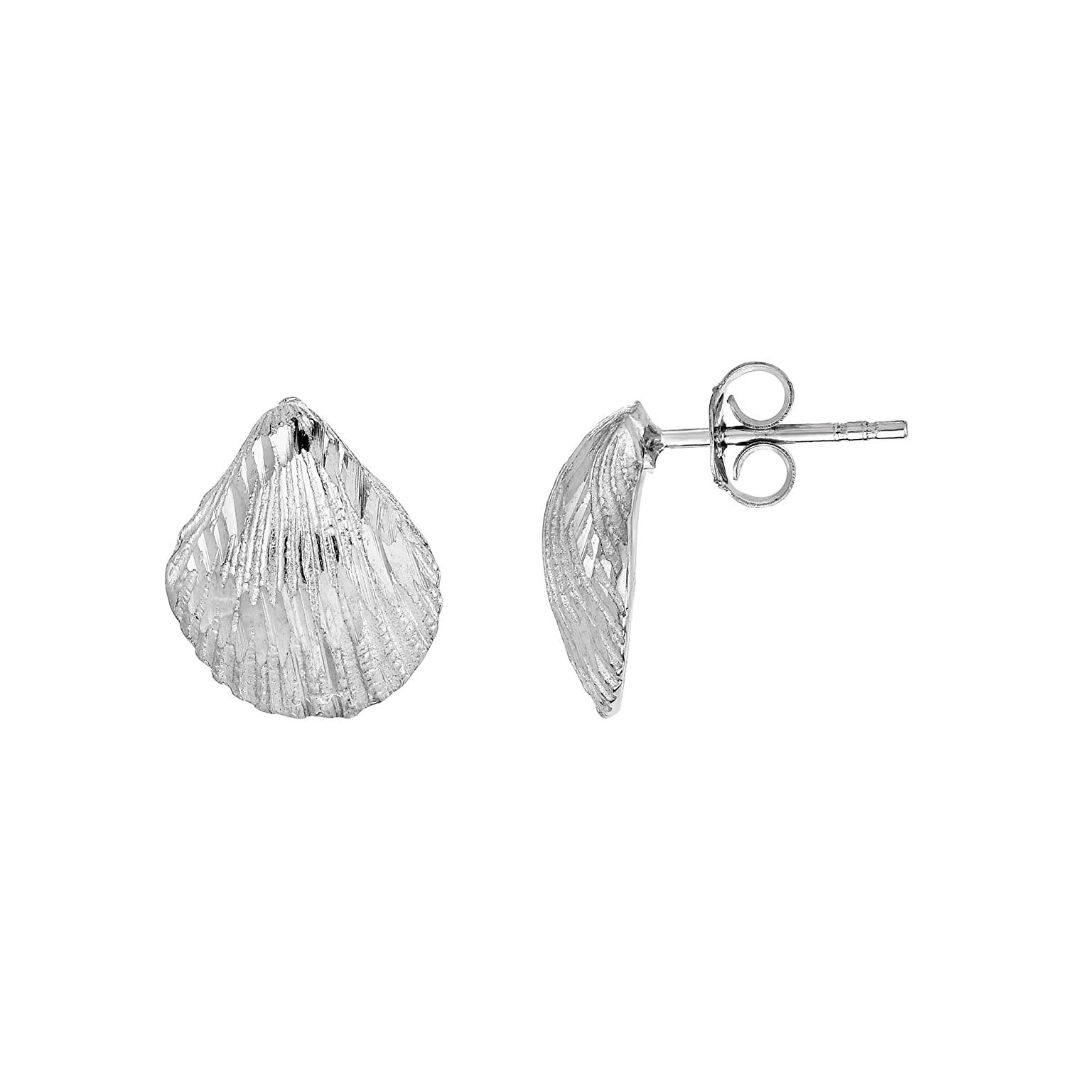 .925 Sterling Silver 11mm Textured Sea Shell Shape Earrings Push Back Clasp