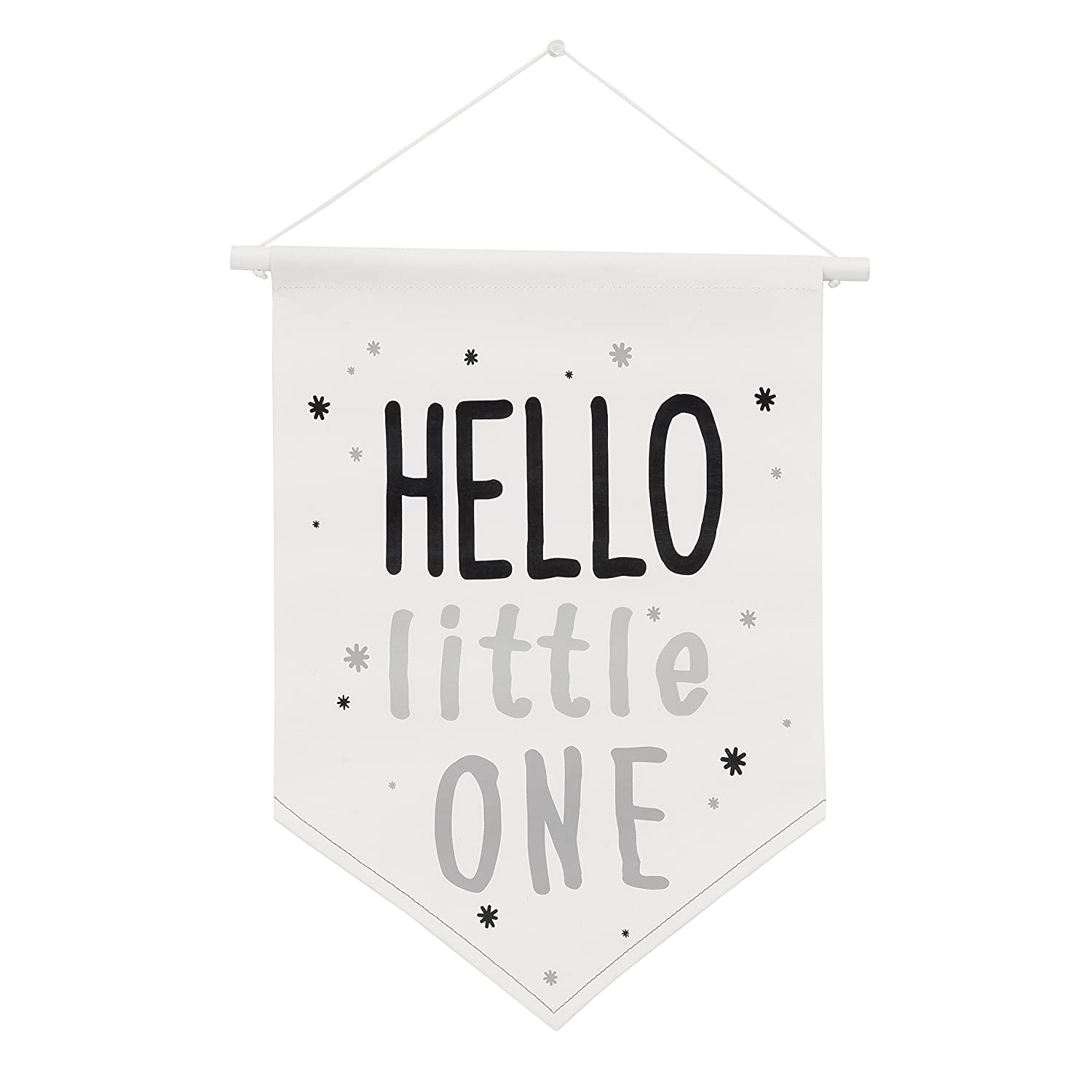 NoJo DreamerHello Little One Wall Banner, Black/White Crown Craft Infant Products 4810191