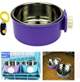 Pet Leso Removable Stainless Steel Hanging Bowl Cat Bowl Dog Water Bowl Birds Food Bowl with Dog Training Clicker