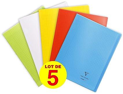 CLAIREFONTAINE Lot de 5 Cahiers MIMESYS Piqu/é Polypro 24 x 32 cm 48 pages 90g S/éy/ès Jaune