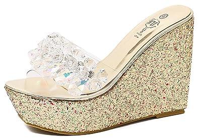 IDIFU Women s Fashion High Heels Wedge Platform Sandals Summer Slippers  with Rhinestones (Gold