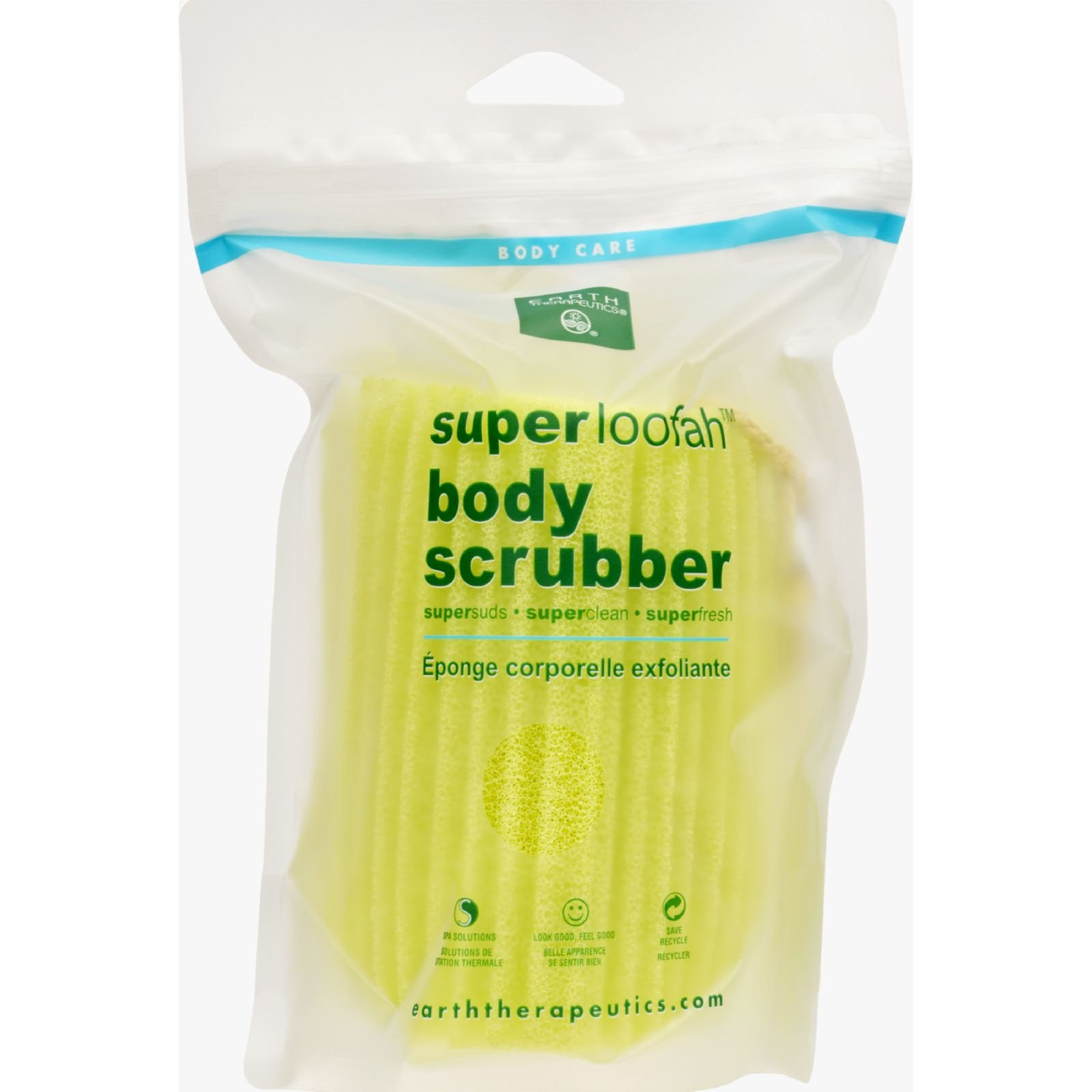 Earth Therapeutics Loofah - Super - Body Scrubber - Green - 1 Count (Pack of 2)