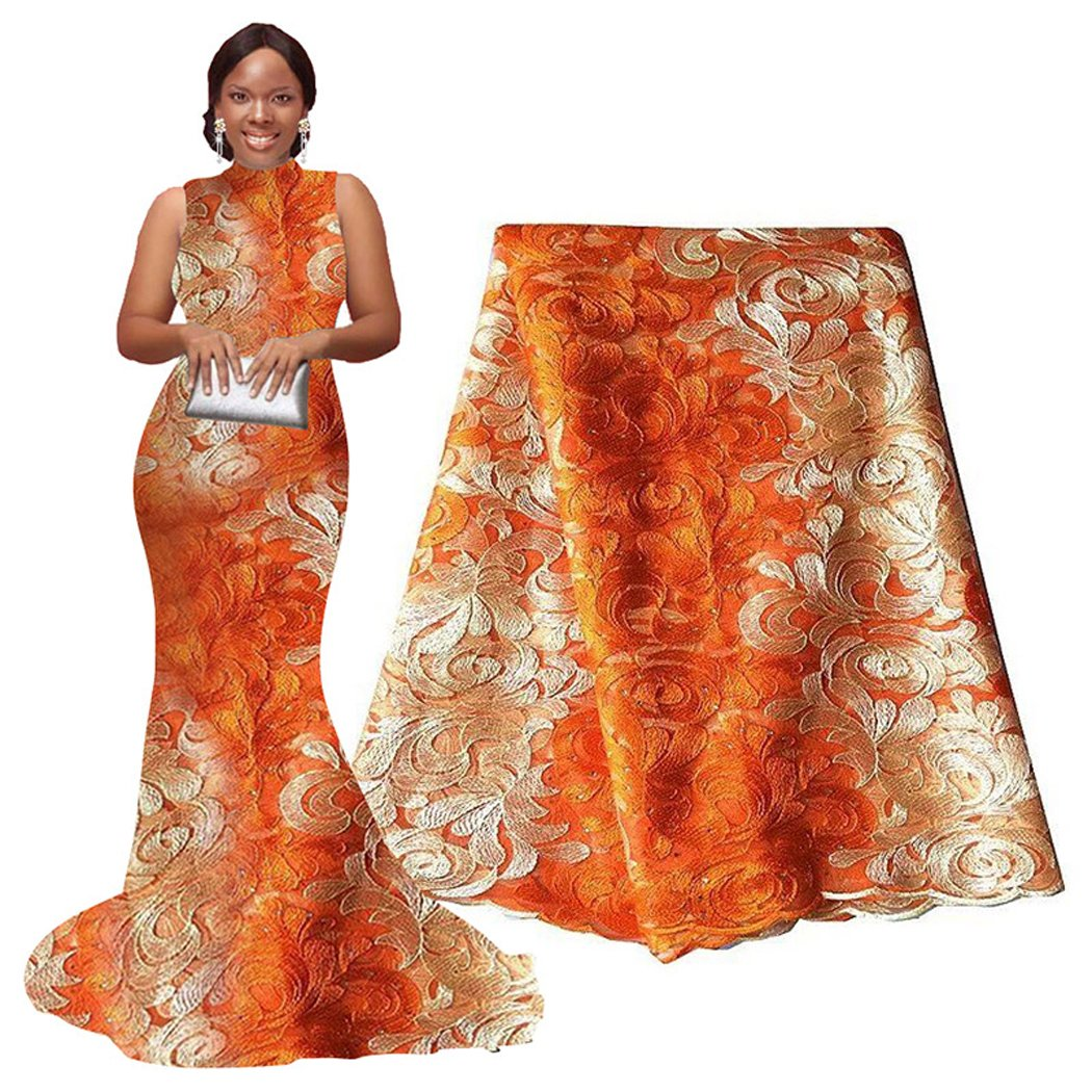 pqdaysun 5 Yards African Net Lace Fabrics Nigerian French Fabric Embroidered and Rhinestones Guipure Cord Lace (orange and white) ...