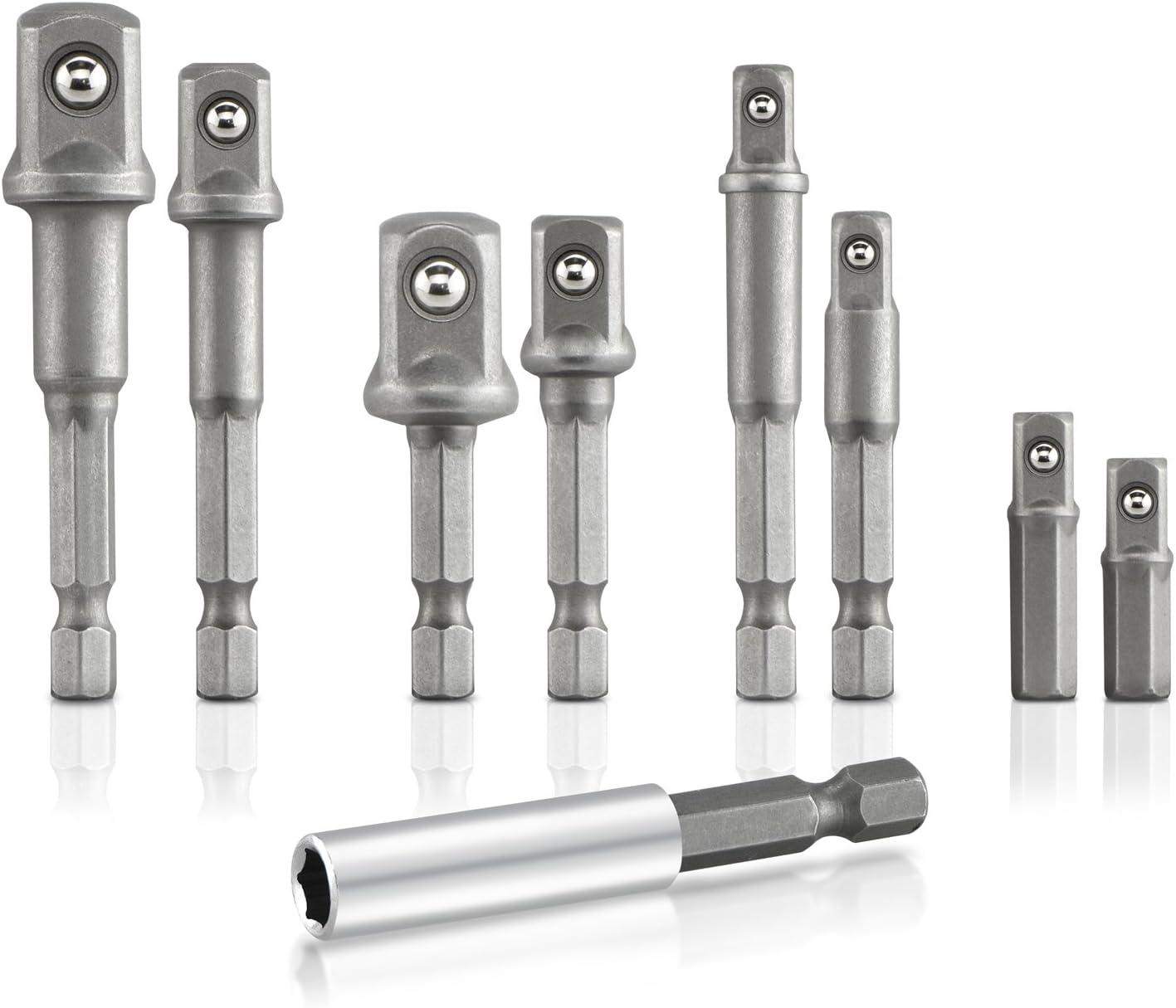 "8x Socket Adapter Impact Hex Shank Drill Bit Power Extension Bar 1//4/"" 3//8/"" 1//2/"""