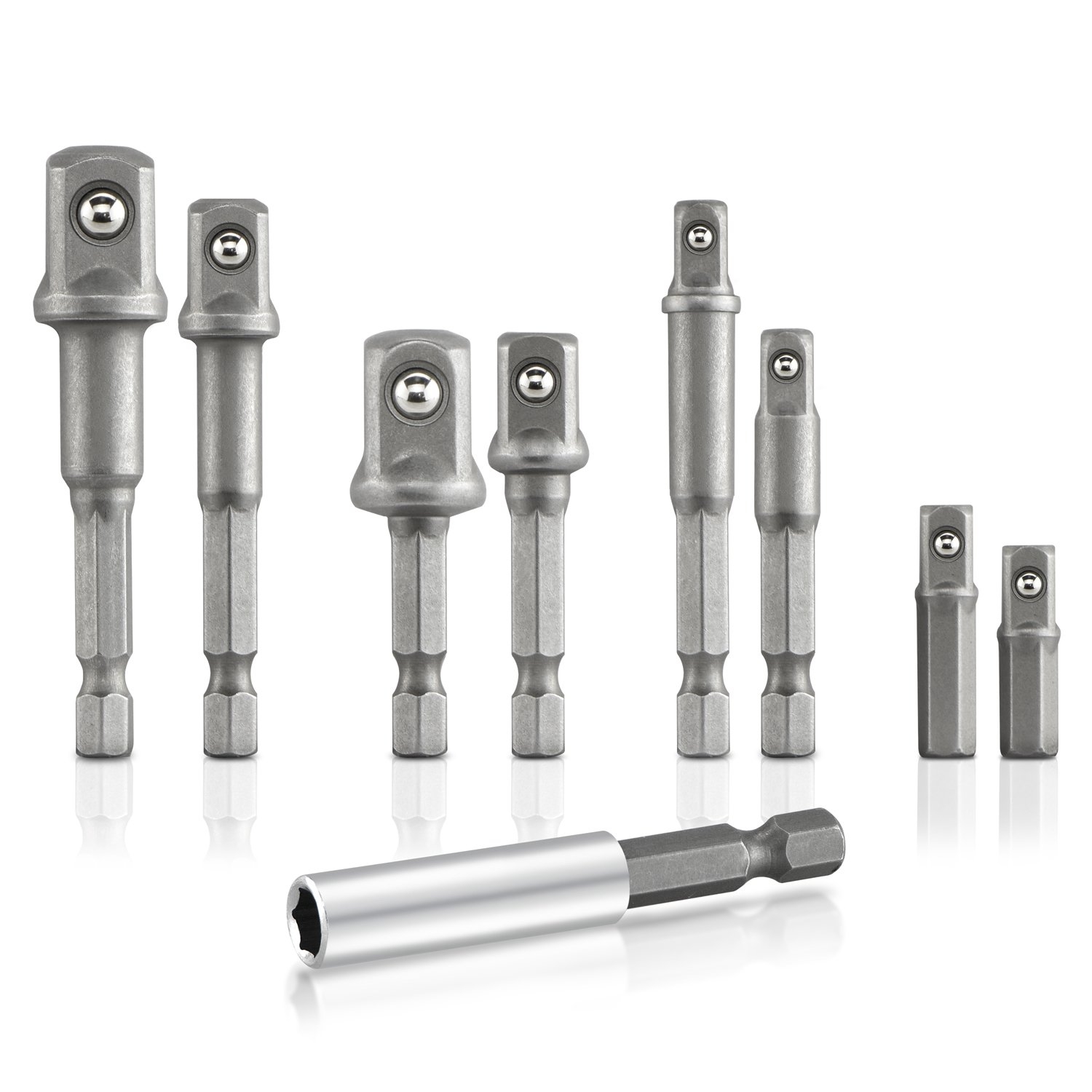 Hiltex 00257 Hex Shank to Square Drive Socket Adapter Bit Bar Set, 9 Pieces | CR-V 1/4, 3/8, 1/2-inch Drive