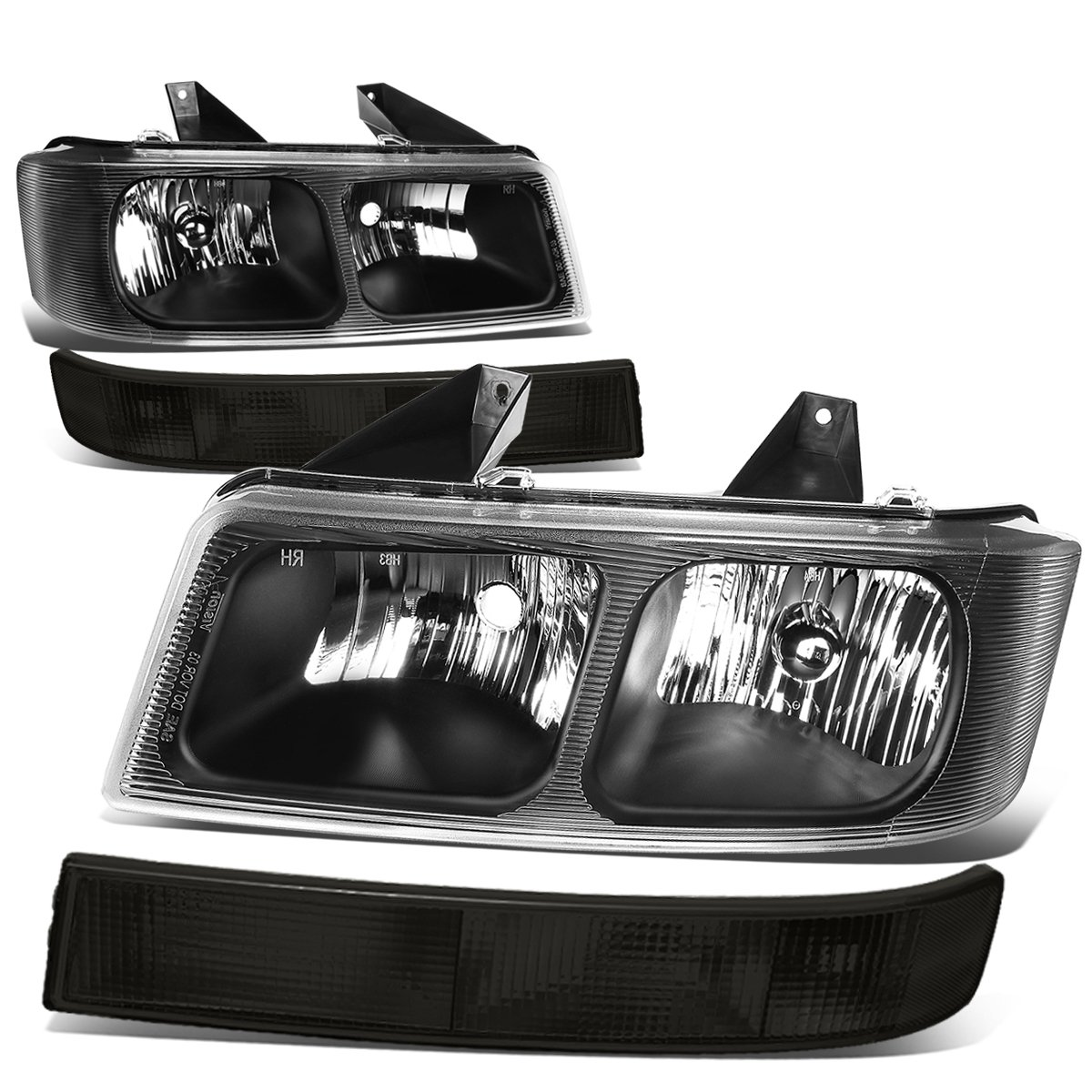DNA Motoring HL-OH-111-BK-CL1-SM Headlight+Bumper Lamp Black//Smoked 03-17 GMC Savana