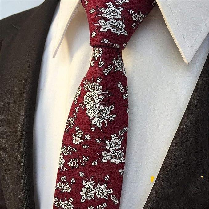 XJIUER corbata Flower Narrow Version Hombres 6 Cm Boda Novio ...