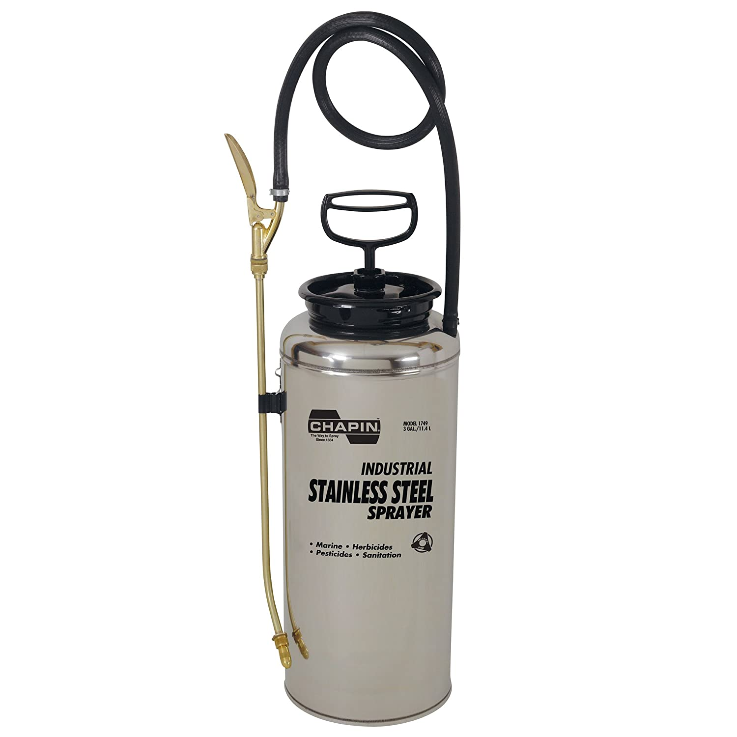 Chapin 1749 3-Gallon Industrial Stainless Steel Sprayer for Fertilizer, Herbicides and Pesticides (1 Sprayer/Package)