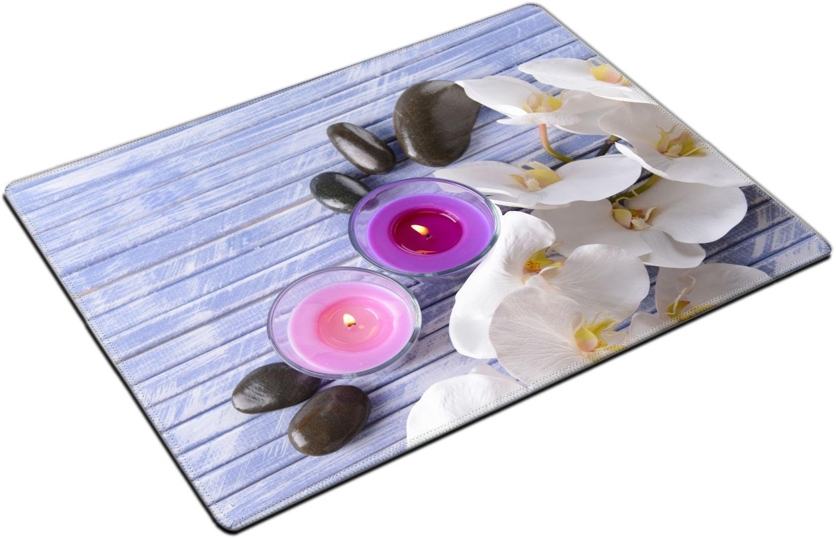 MSD Placemat Non-Slip Natural Rubber Desk Pads Place-mats Design 24835136 Beautiful Colorful Candles Spa Stones and Orchid Flower on Color Wooden Background