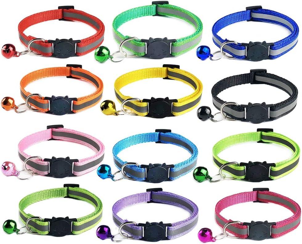 ZHEZHE - 12 collares para gatos reflectantes, ajustable, cierre rápido, hebilla de seguridad con cascabel, adecuado para la mayoría de gatos ...