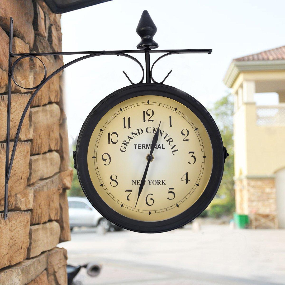 Amazonde Bahnhofsuhr Zweiseitige Wanduhr Wohnzimmer Wetterfest Uhr Retro  Antik Stil Garten Uhr.