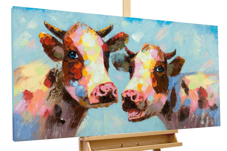 KunstLoft® Acryl Gemälde & 039;Tierischer Klatsch& 039; 120x60cm   original handgemalte Leinwand Bilder XXL   Kuh Bunt Blau Tier   Wandbild Acrylbild moderne Kunst einteilig mit Rahmen