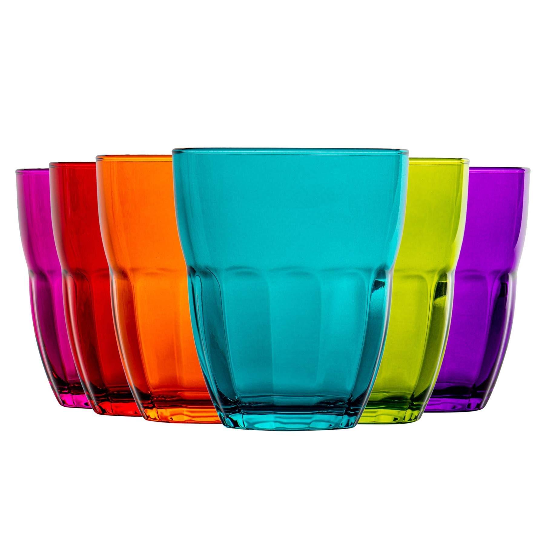 Bormioli Rocco Ercole Coloured Tumbler Glasses - 230ml - Multi Coloured - Set of 6
