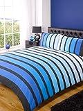Soho Blue Stripe Duvet Cover Quilt Bedding Set, Blue, Single Size - Bedroom Bed Linen