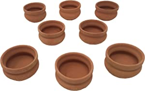 Mini Cantaritos/Jarritos de Barro, 1 oz. (set of 8). Especiales para Tomar Mezcal, Tequila en Fiesta Mexicana. Tequileros Mexicanos. Handmade Mexican Clay Cups/Pots. Perfect for Espresso Shots.