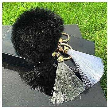 Amazon.com  Womens Tassel Hairball Key Chain Pendant Tassel Rabbit Fur  Fuzzy Ball Pompom Keychain Bag Big Charm Key Ring Black  Office Products c541a91208
