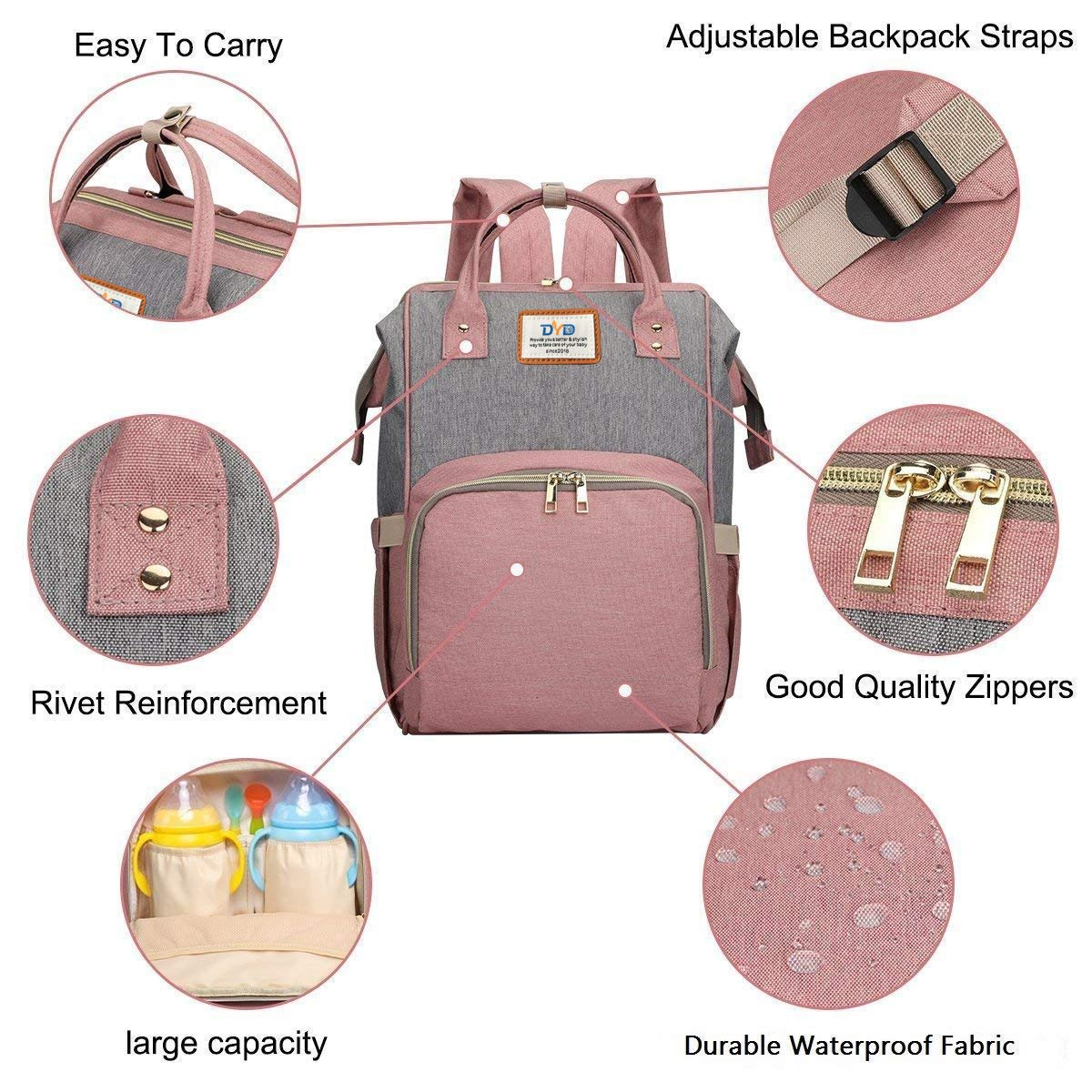 Large Multifunction Travel Backpack Maternity Baby Diaper Bags Dark Gray Waterproof and Stylish Diaper Bag Backpack Large Capacity