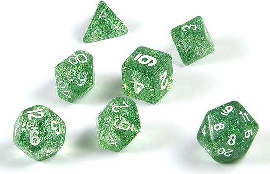 shibby 7 Dados poliédricos en Verde rutilar para Juegos de rol y Mesa, Incluye Bolsa: Amazon.es: Juguetes y juegos