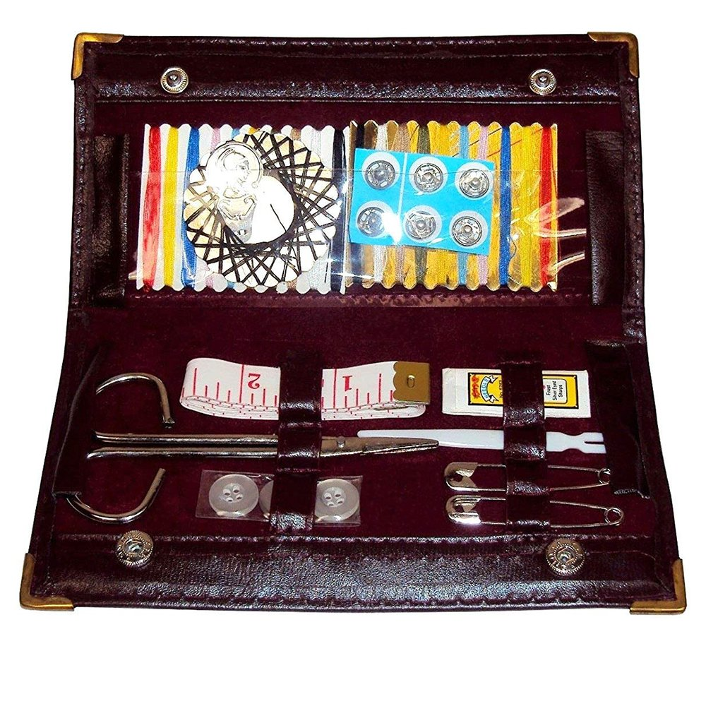 Sewing Kit Compact Burgundy Faux Leather Wallet with Metal Button Snap Closures. Camping, School, or Unexpected Emergencies. Comes in a Colorful Box for Gift Wrapping.