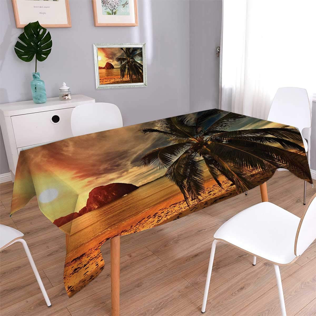 Anmaseven Ocean Rectangle Customized Tablecloth Havana Beach Sunny Tropics Mountains Rocks and Coconut Palm Trees Stain Resistant Wrinkle Tablecloth Orange Light Brown Dark Green Size: W70 x L104