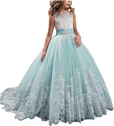 Amazon.com: aprildress Vintage encaje vestido de niña de ...