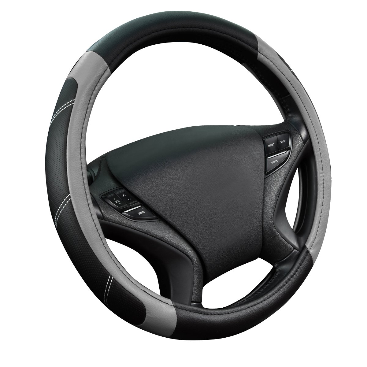 NEW ARRIVAL- CAR PASS Line Rider Leather Universal Steering Wheel Cover fits for Truck, Suv, Cars (Black with red color) LJ