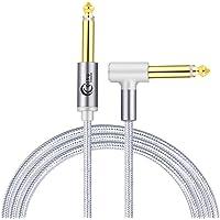 QING CAOQING Professionele Gitaarkabel (1 M), Kabel 6,3 mm (1/4 inch) TS Haakse Jack Nylon Gevlochten Gitaar Instrument…