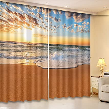 Amazon Com Lb 3d Curtains For Bedroom And Living Room Ocean