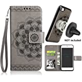 iPhone 8/7 Case,iPhone 8/7 Flip Embossed Leather Wallet Cases with Protective Detachable Slim Case Fit Car Mount,CASEOWL Mandala Flower Design with Card Slots, Strap for iPhone 7/8 Plus[Gray]
