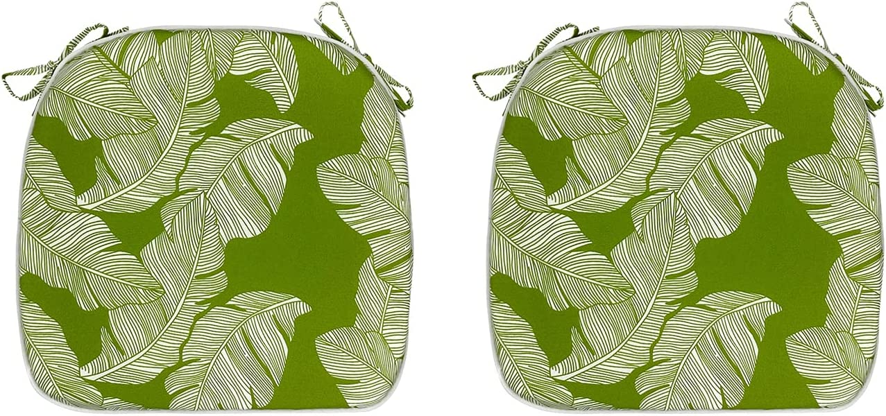 FBTS Prime Outdoor Chair Cushions (Set of 2) 16x17 Inch Patio Chair Cushions Moss Green Square Chair Pads for Outdoor Patio Furniture Garden Home Office