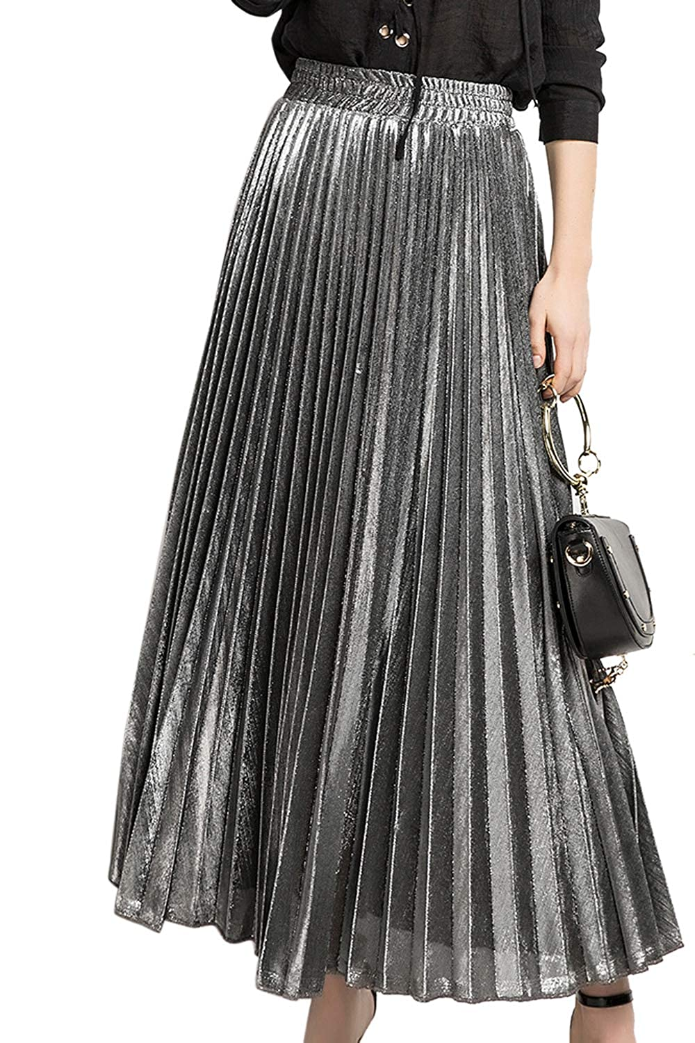 Dazosue Womens Skirt Metallic Shiny Shimmer Accordion Pleated Long Maxi Skirts