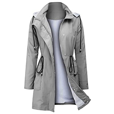 ZEGOLO Women's Raincoats Windbreaker Rain Jacket Waterproof Hooded Outdoor Trench Coats: Clothing