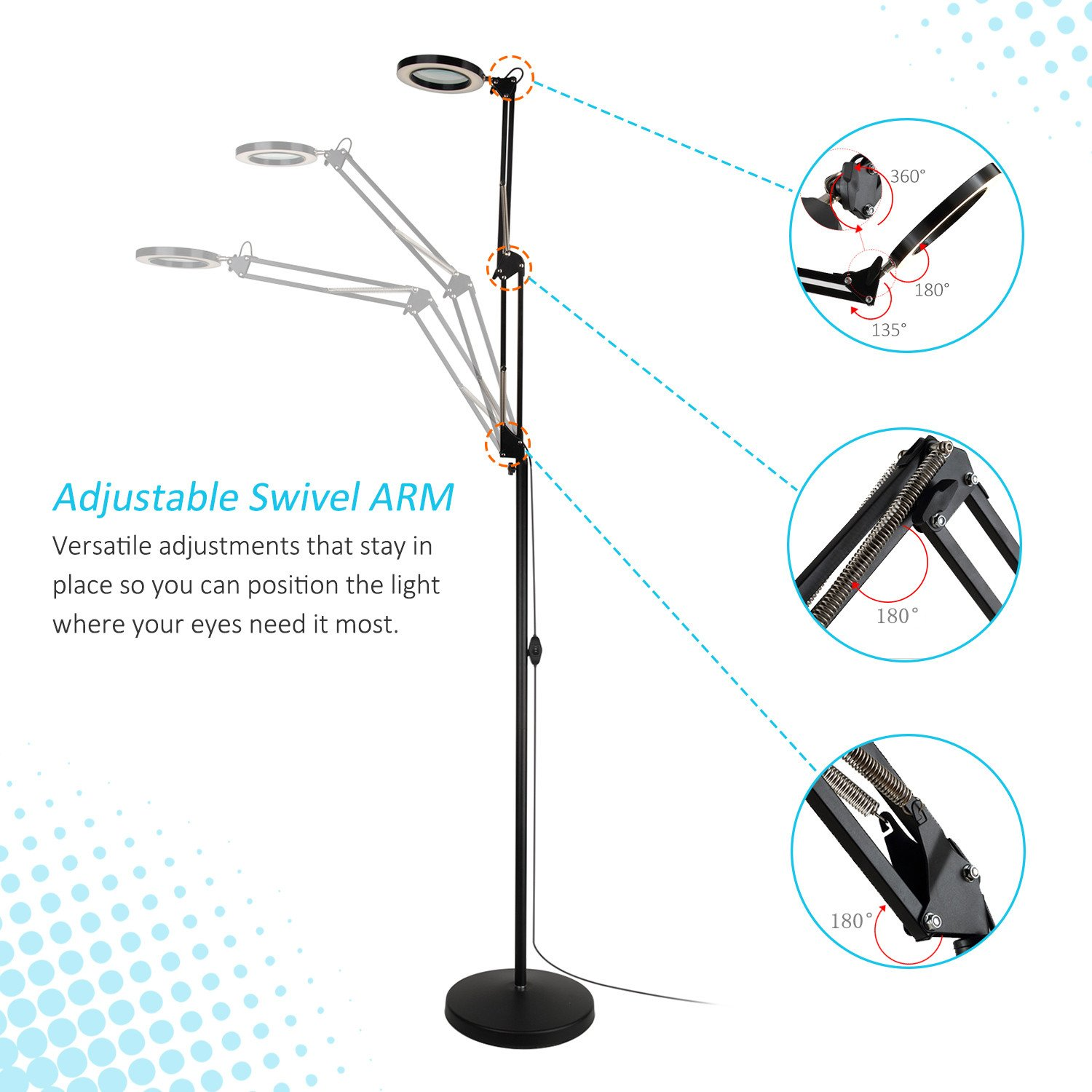 Tomsoo 2 In 1 Led Magnifying Floor Lamp With Utility Clamp Cool Dazor Wiring Diagram White Warm Bright Full Spectrum Magnifier Lighted Glass Lens Adjustable Stand And