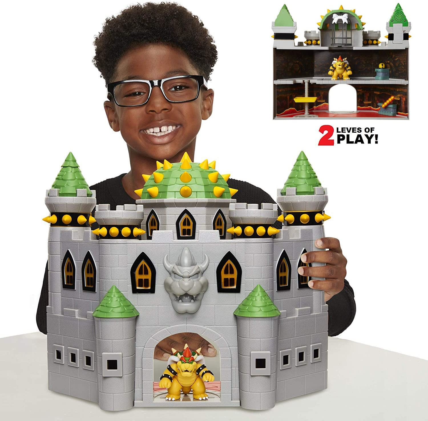 Nintendo Bowser S Castle Super Mario Deluxe Bowser S Castle Playset With 2 5 Exclusive Articulated Bowser Action Figure Interactive Play Set With