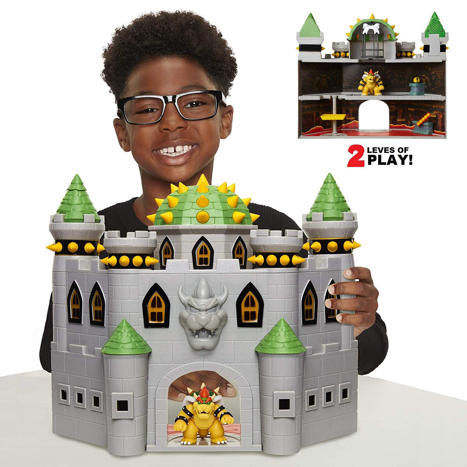 Nintendo Bowser's Castle Super Mario Deluxe Bowser's Castle Playset with 2.5'' Exclusive Articulated Bowser Action Figure, Interactive Play Set with Authentic in-Game Sounds by Nintendo