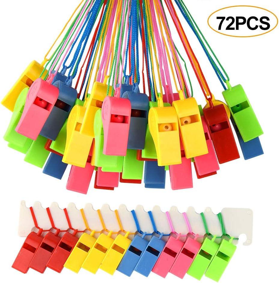 FEPITO 72 Piezas silbatos de plástico de Colores, Entrenador silba con Cordones para Eventos Deportivos, Entrenamiento del Perro