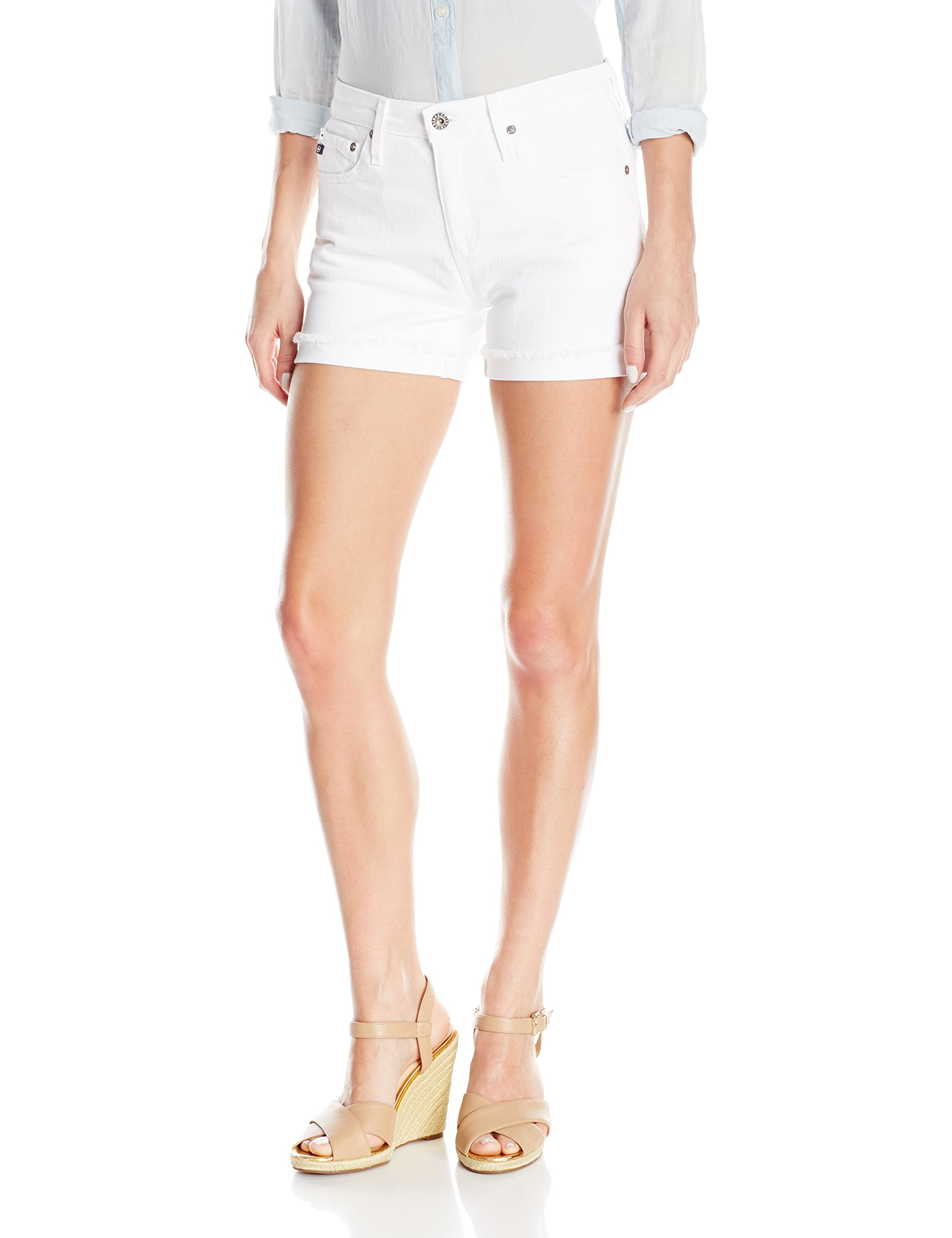 AG Adriano Goldschmied Women's Hailey Ex-Boyfriend Roll up Jean Short, White, 28