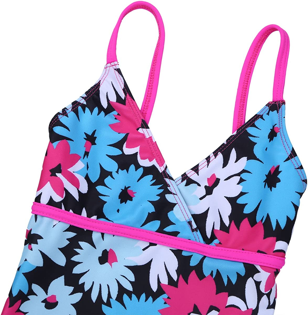 ACSUSS Kids Girls 2 Pieces Tankini Swimwear Floral V-Neck Crop Tops with Bottoms Swimsuit Beachwear