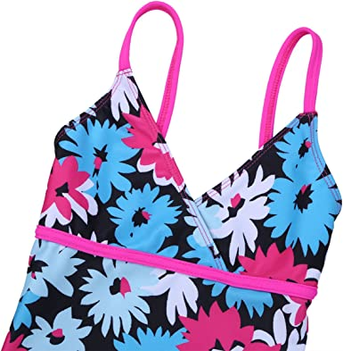 MSemis Little Big Girls 2pcs Rash Guard Set Flower Tank Top with Shorts Sun Protective Swimsuit Bathing Suit