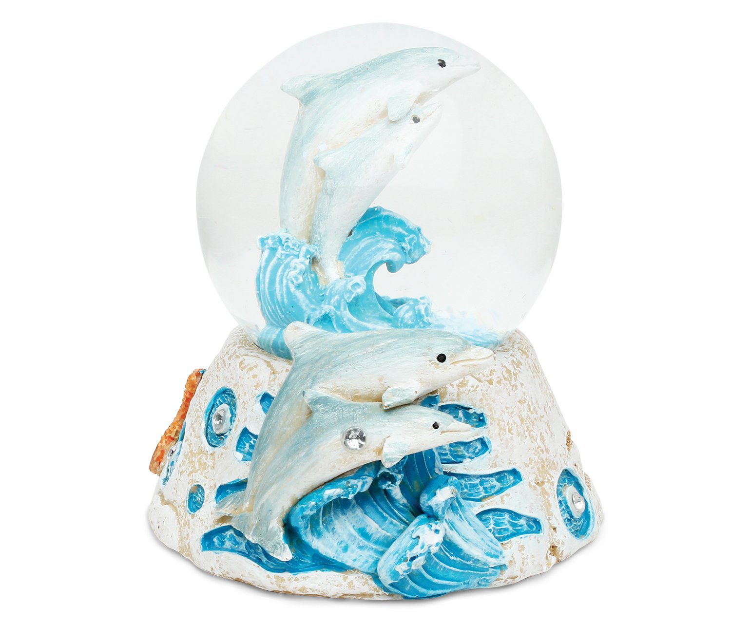 Puzzled Dolphin Resin Stone Finish Snow Globe - Sea Life Collection - 65 MM - Unique Elegant Gift and Souvenir - Item #9361