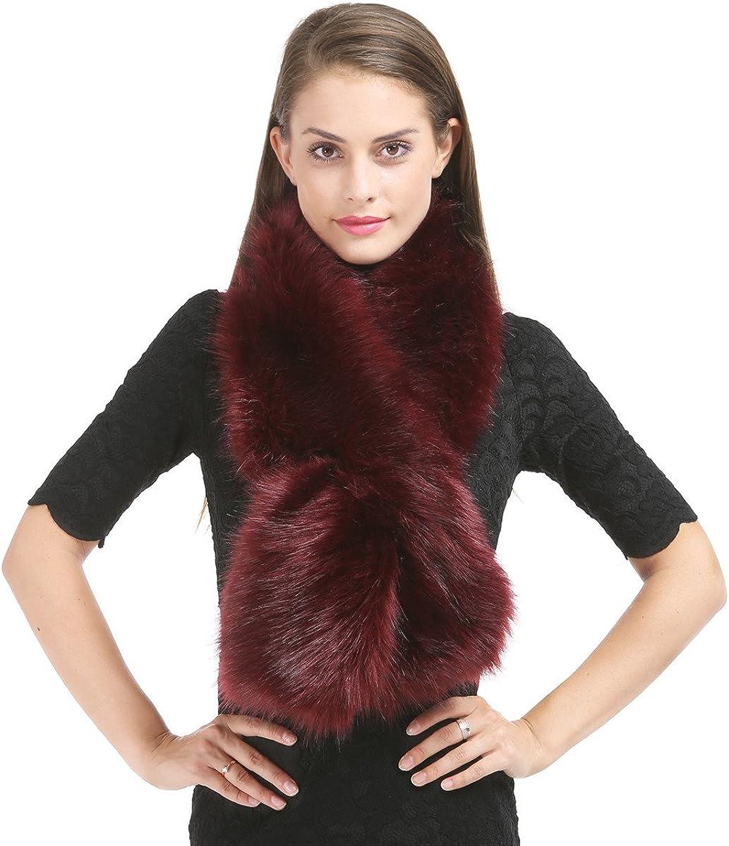 Saferin Falso invierno abrigo de la bufanda de piel sintética de las mujeres para boda