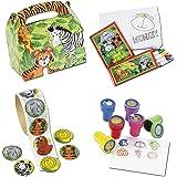 Safari Mitgebsel Set A mit 136 Teilen Geburtstagstüte Malset Stempel Aufkleber Palandi®