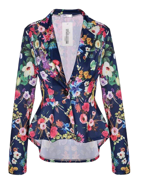 Cekaso Women's Long Sleeve Blazer Single Button Front Plain Peplum Frill Blazer Coat