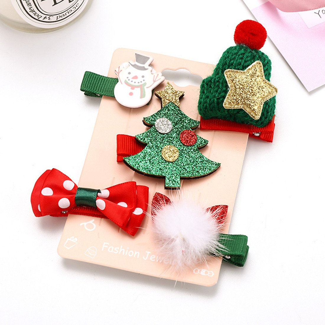 OCTCHOCO 5PCS Hair Bow Clips Boutique Christmas Series Bling Star Bell Pompons Hat Ribbon Alligator Clips for Toddlers Baby Girls Teens (Tree)