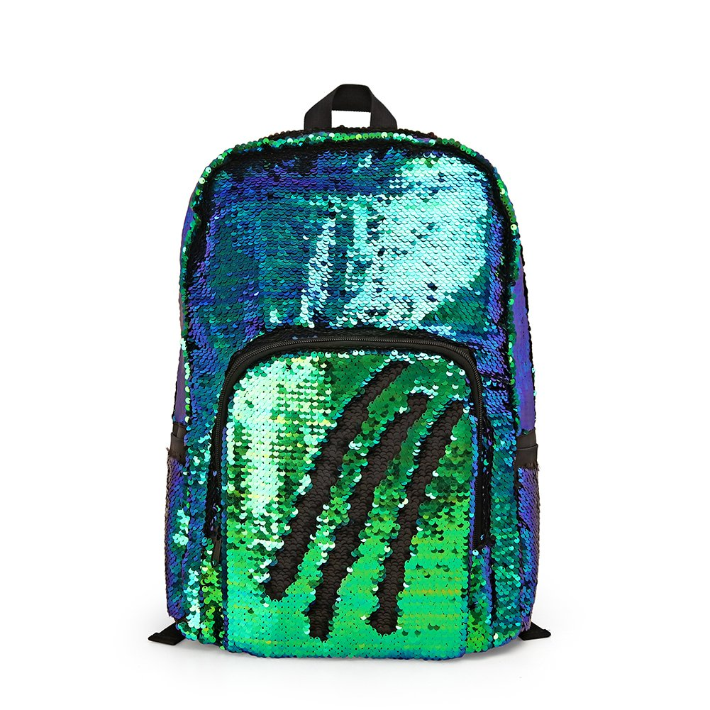 Glitter Magic Reversible Sequin School Backpack,Sparkly Lightweight Back Pack Shoulder Casual Daypack for Women Girls and Boys (Rainbow/Silver, 17(H)12¼(L)4¾(W) WOYYHO