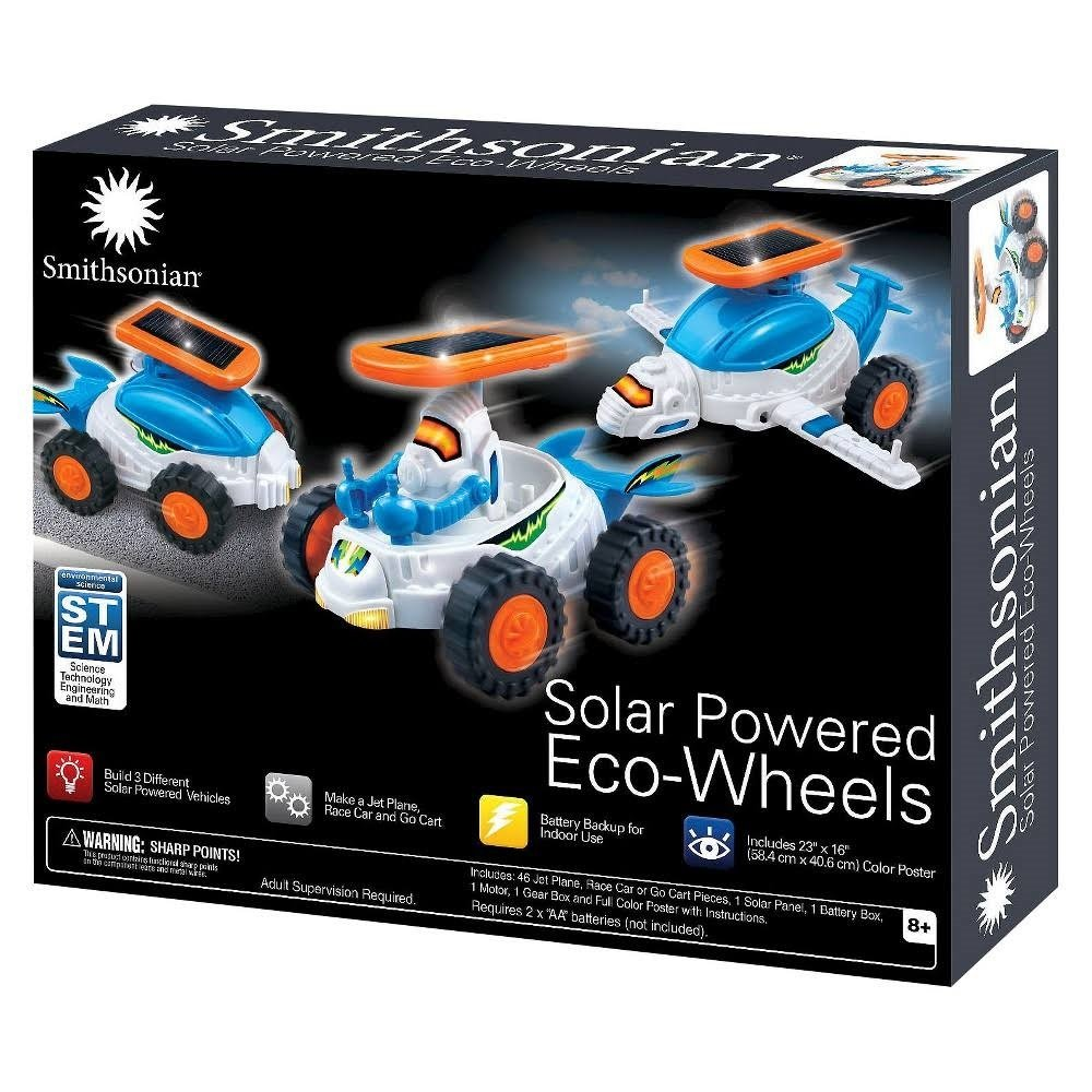 Smithsonian Solar Powered Eco‑Wheels Advanced Kit STEM Toy Make Jet Plane, Race Car and Go Cart