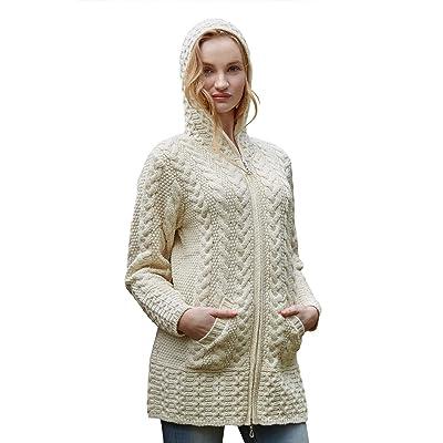 West End Knitwear Irish Merino Wool Ladies Hooded Aran Zip Sweater Coat (XX-Large) at Women's Clothing store